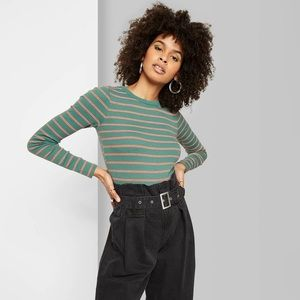 Wild Fable Striped Long Sleeve Crewneck T-Shirt